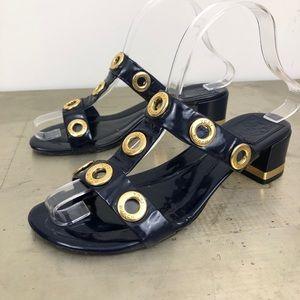 Tory Burch Addie Patent Grommet Sandal Heels